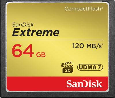 SanDisk Extreme CompactFlash - Carte mémoire - 64 Go - noir / or