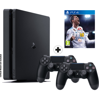 Sony PS Sony PS4 Slim + Fifa 18 + Dualshock 4 - Console - Disque dur 1 To Console Noir