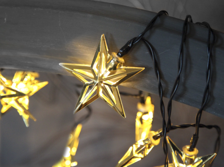 STAR TRADING 728-71 METAL STAR - Weihnachtsbeleuchtung - Mit 10 LEDs - Gold