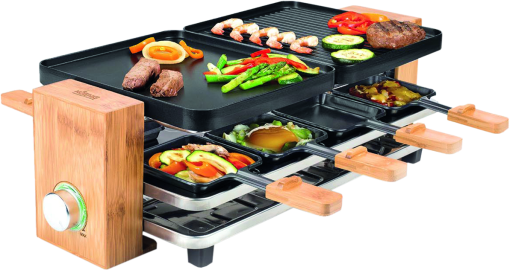 koenig b02169 raclette grill 8 personen bambus schwarz g nstig kaufen kombi. Black Bedroom Furniture Sets. Home Design Ideas