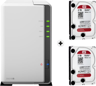 synology diskstation ds218j nas server 2x 2 tb wd red festplatte weiss g nstig kaufen. Black Bedroom Furniture Sets. Home Design Ideas