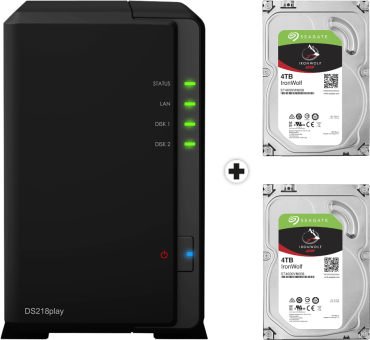 Synology DiskStation DS218play - Serveur NAS - 2x 4 To Seagate IronWolf Disque dur - Noir