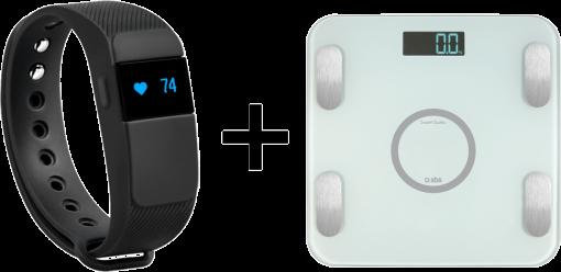 sbs Fitness-Tracker + Smart Scales - Fitness-Uhr + Digitale Waage - Mit kostenloser App Go Life - Schwarz/Hellgrün
