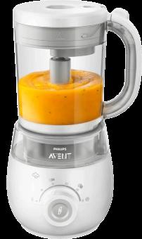 Philips Avent Scf875/04 Ce robot cuiseur-mixeur sain pour bébé 4 en 1 - Combiné Paquebots et Mixeur - blanc Fabricant de nourriture pour bébés (Blanc)