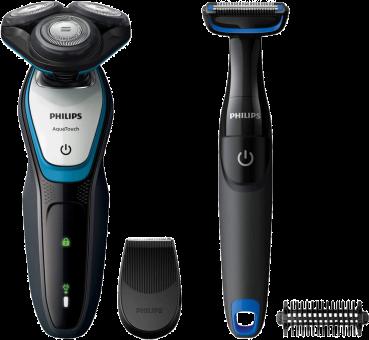 Philips S5070/92, Grau/Blau + GRATIS Philips Bodygroomer