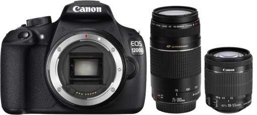 Canon EOS 1200D, 18-55mm DC III + 75-300mm DC III Kit, 18 MP, Schwarz