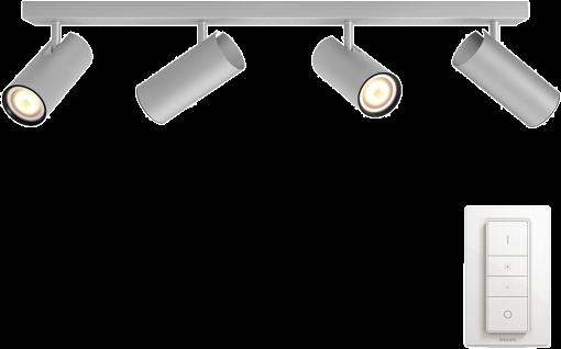 philips hue buratto wandleuchte 4x spot aluminium g nstig kaufen deckenleuchte media. Black Bedroom Furniture Sets. Home Design Ideas