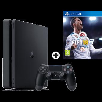 Sony PS4 Slim - Spielkonsole - 500 GB - Schwarz + FIFA 18