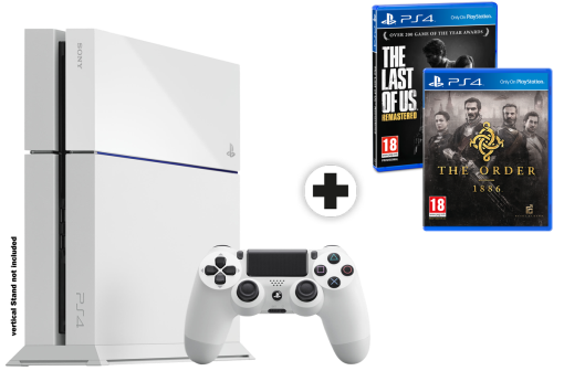 Sony PlayStation 4 500GB, bianco + The Last of Us - Remastered, PS4, multilingue + The Order 1886, PS4, multilingue