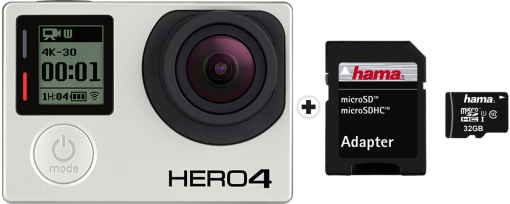 GoPro Hero 4 Black Adventure + hama microSDHC 32 GB Class 10 UHS-I 45 MB/s + Adapter/Mobile
