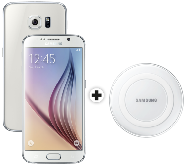 Samsung Galaxy S6, 64GB, weiss + SAMSUNG GALAXY S6 & Edge Wireless Charger, weiss