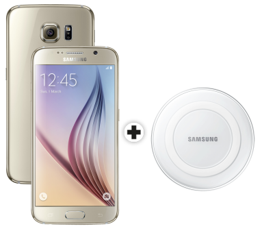 Samsung Galaxy S6, 64GB, gold + SAMSUNG GALAXY S6 & Edge Wireless Charger, weiss
