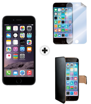 Apple iPhone 6, 64GB, spacegrau + celly WALLY für Apple iPhone 6, schwarz + celly SBF600