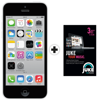 Apple iPhone 5c, 8GB, weiss + JUKE 3 Monate