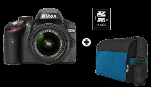 Nikon D3200, 18-55mm VR II Kit, 24.2 MP, Schwarz + Nikon CF-EU10 + Nikon Speicherkarte SDHC, 16GB