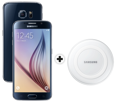 Samsung Galaxy S6, 64GB, schwarz + SAMSUNG GALAXY S6 & Edge Wireless Charger, weiss