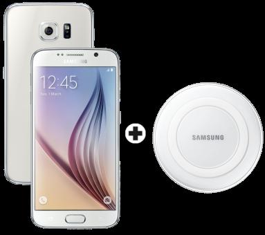Samsung Galaxy S6, 32GB, weiss + SAMSUNG GALAXY S6 & Edge Wireless Charger, weiss