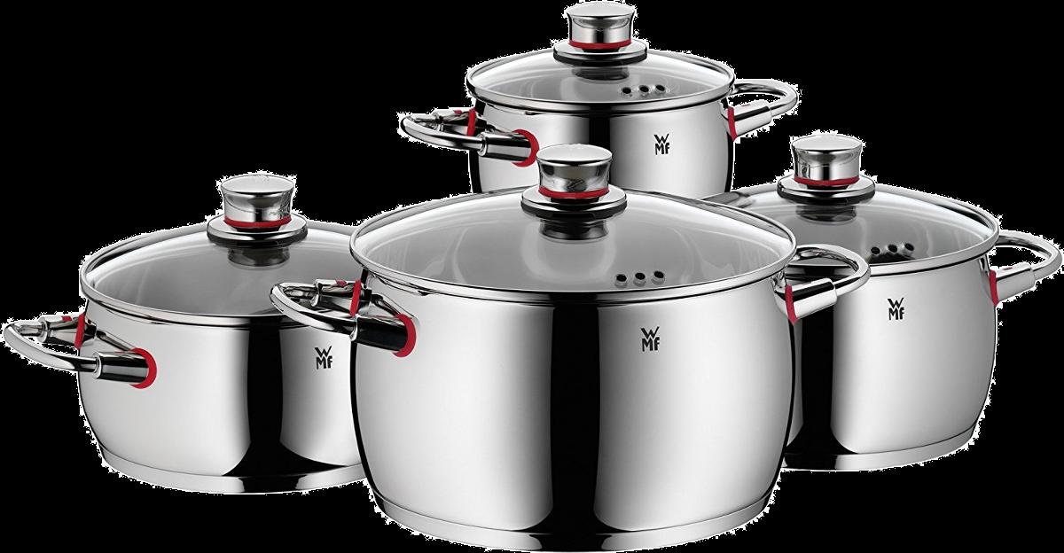 wmf quality one batterie de cuisine 4 pi ces argent jeux de casseroles pour cuisini res. Black Bedroom Furniture Sets. Home Design Ideas
