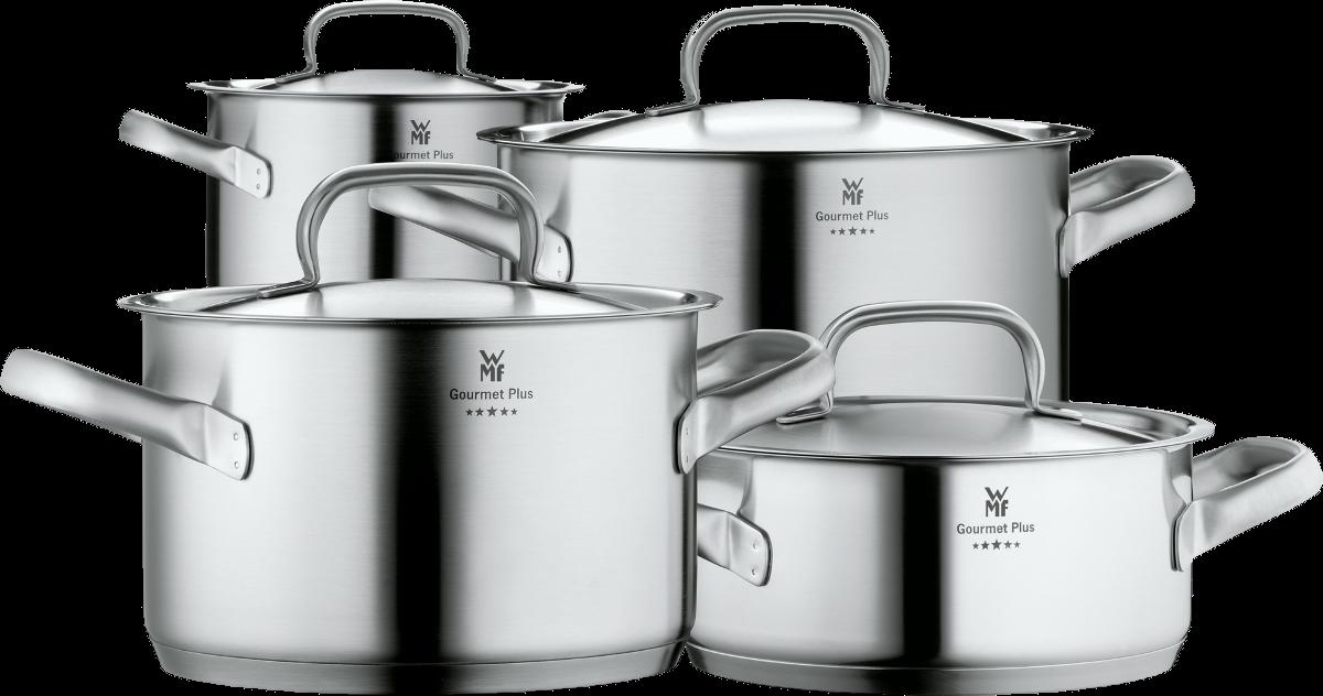 wmf gourmet plus batterie de cuisine pour les cuisini res induction 4 pcs argent jeux. Black Bedroom Furniture Sets. Home Design Ideas