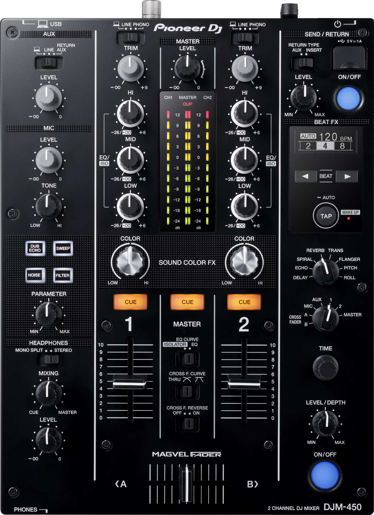 pioneer djm 450 2 kanal mixer 94 db schwarz g nstig. Black Bedroom Furniture Sets. Home Design Ideas