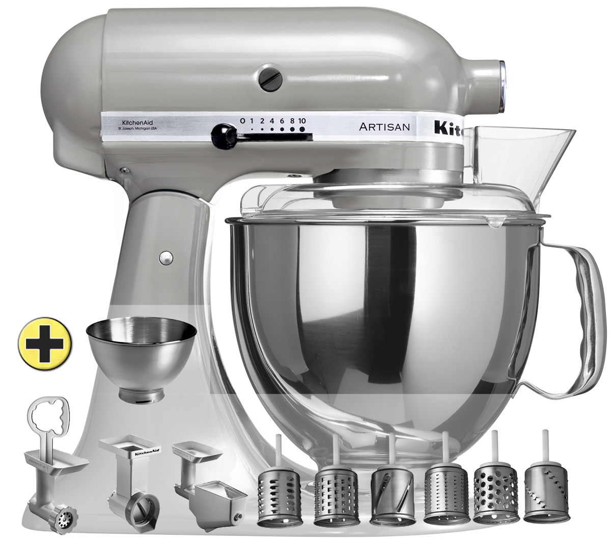 Kitchenaid ksm 150 premium set gris chrom for Acheter ustensiles de cuisine
