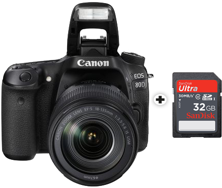 canon eos 80d 32 go sdhc ultra 18 135 mm 24 2mp noir appareils photo reflex aps c. Black Bedroom Furniture Sets. Home Design Ideas