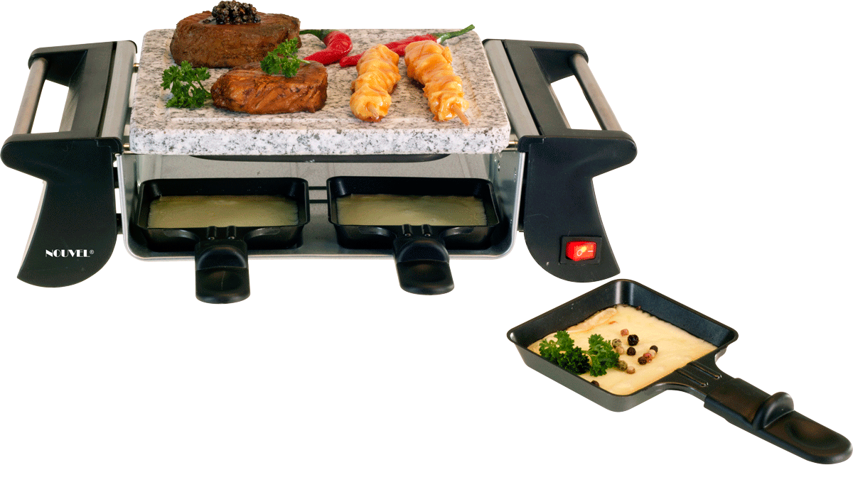 nouvel raclette ofen grill 4 personen 500 watt. Black Bedroom Furniture Sets. Home Design Ideas