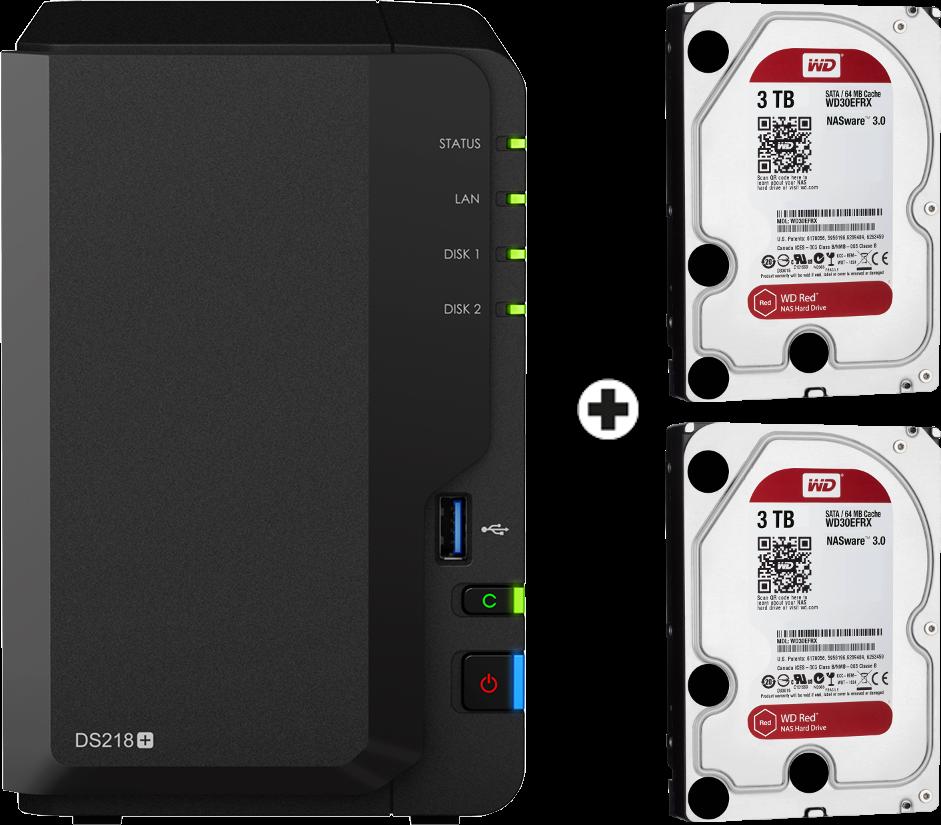 synology diskstation ds218 nas server 2x 3 tb wd red festplatte schwarz g nstig kaufen. Black Bedroom Furniture Sets. Home Design Ideas