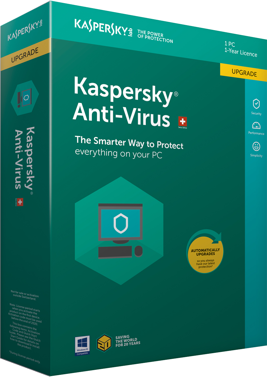 kaspersky anti virus 2018 swiss edition upgrade 1 pc 1. Black Bedroom Furniture Sets. Home Design Ideas