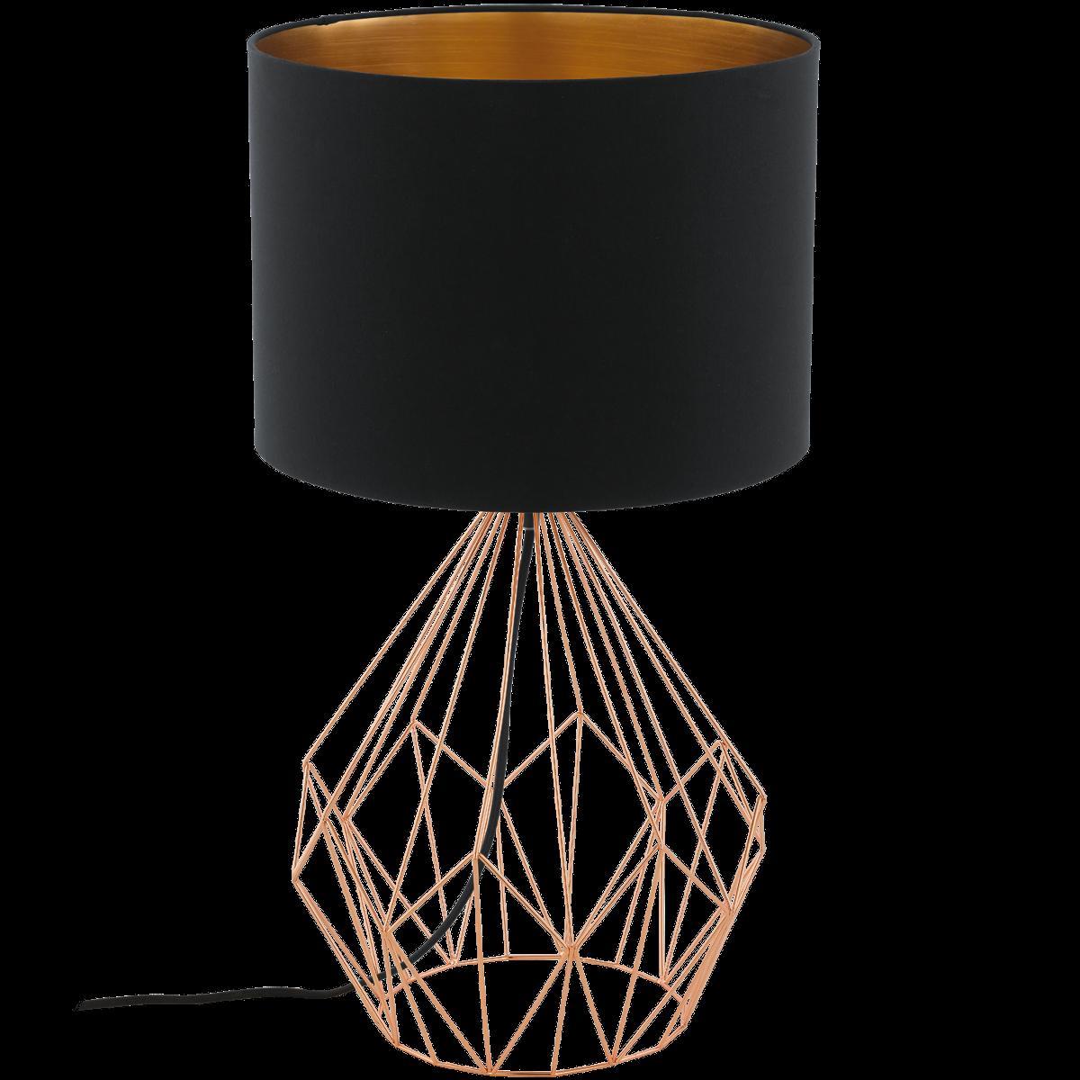eglo pedregal 1 95185 tischleuchte 60 w kupfer schwarz g nstig kaufen tischleuchten. Black Bedroom Furniture Sets. Home Design Ideas