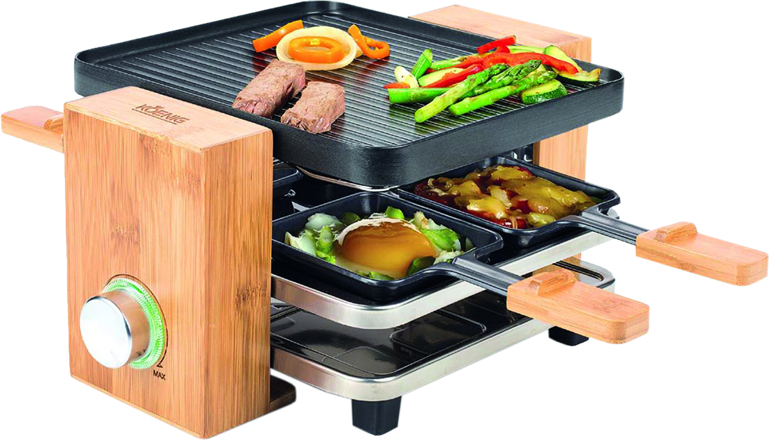 koenig b02167 raclette grill 4 personen bambus schwarz g nstig kaufen kombi. Black Bedroom Furniture Sets. Home Design Ideas